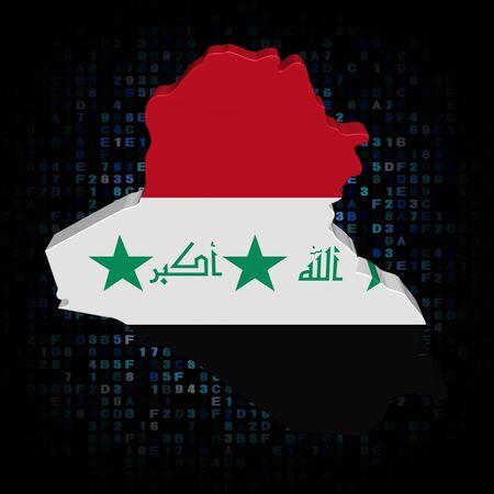 hex: Iraq map flag on hex code illustration