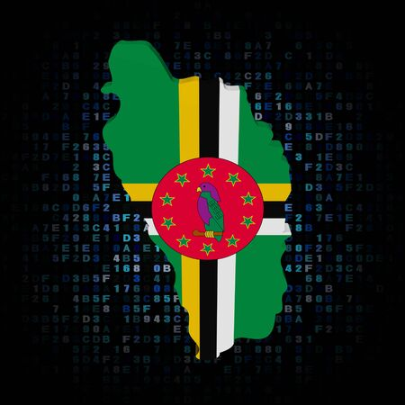 hex: Dominica map flag on hex code illustration Stock Photo