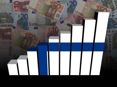 finnish: Finnish flag bar chart over euros illustration