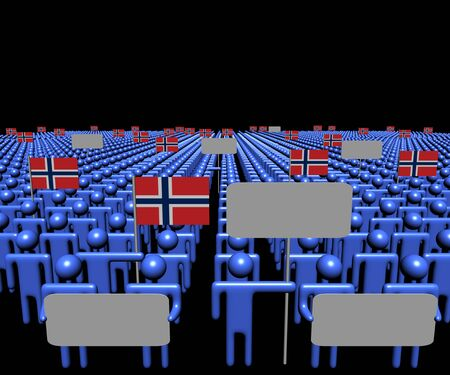 Crowd of people with signs and Norwegian flags illustration Stock Photo