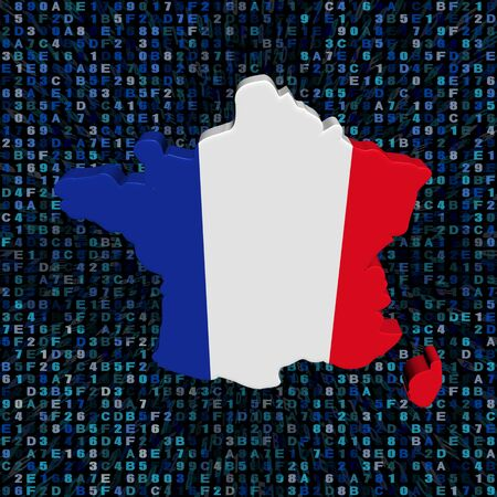 hex: France map flag on hex code illustration