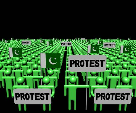 Crowd of people with protest signs and Pakistan flags illustration Stock Photo