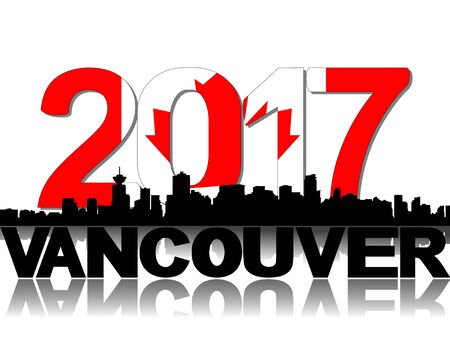 canadian flag: Vancouver skyline 2017 flag text illustration Stock Photo