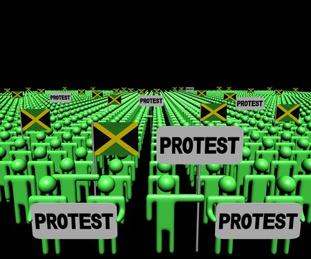 jamaican man: Crowd of people with protest signs and Jamaican flags illustration