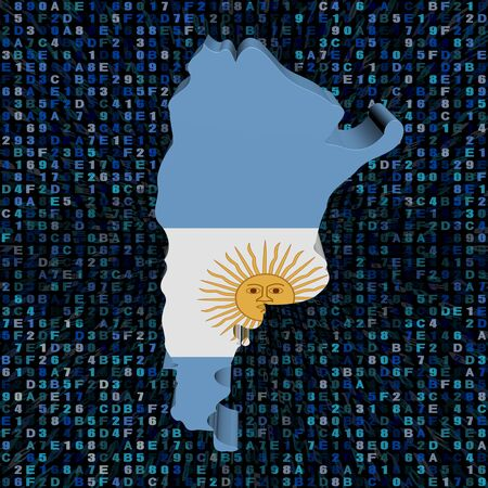 hex: Argentina  map flag on hex code illustration