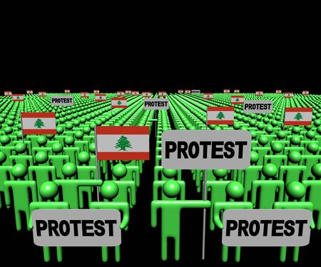lebanese: Crowd of people with protest signs and Lebanese flags illustration