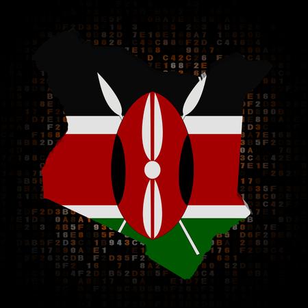 Kenya map flag on hex code illustration Stock Photo