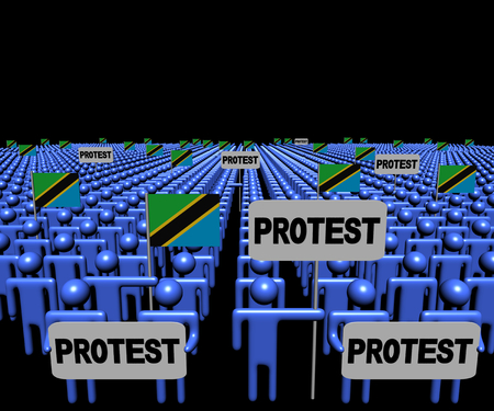 Crowd of people with protest signs and Tanzania flags illustration Stock Photo