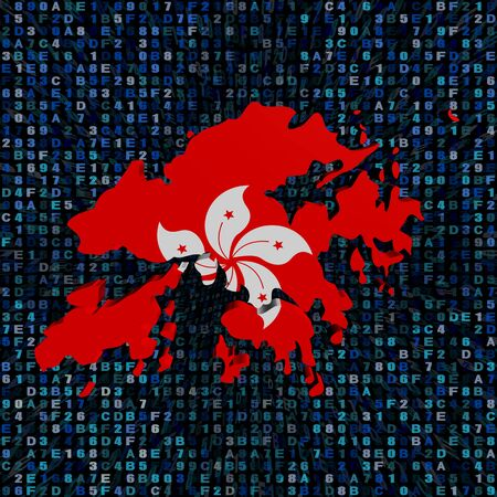hex: Hong Kong map flag on hex code illustration Stock Photo