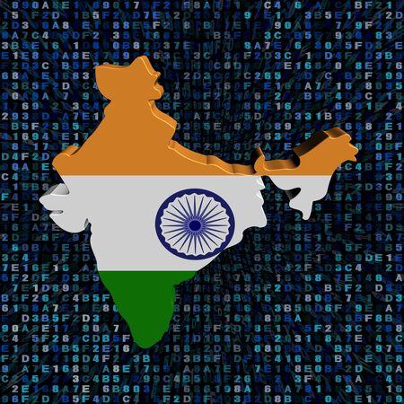 India map flag on hex code illustration