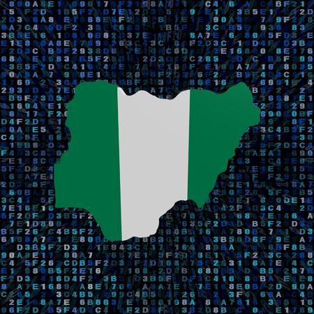 hex: Nigeria map flag on hex code illustration