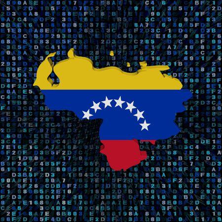 Bandera de mapa de Venezuela en la ilustración de código hexadecimal