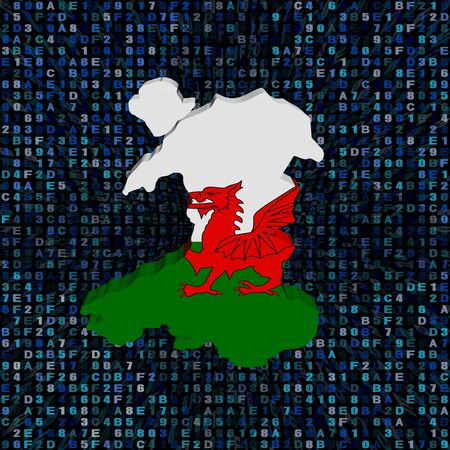 Wales map flag on hex code illustration Stock Photo