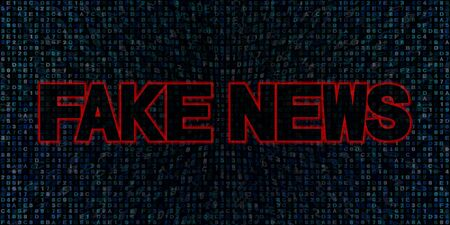 counterfeit: Fake News text on hex code illustration