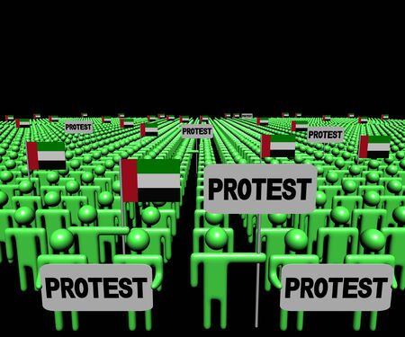 Crowd of people with protest signs and UAE flags illustration Stock Photo
