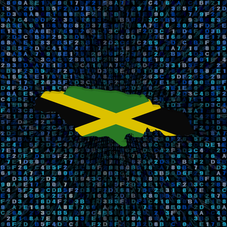 hex: Jamaica map flag on hex code illustration