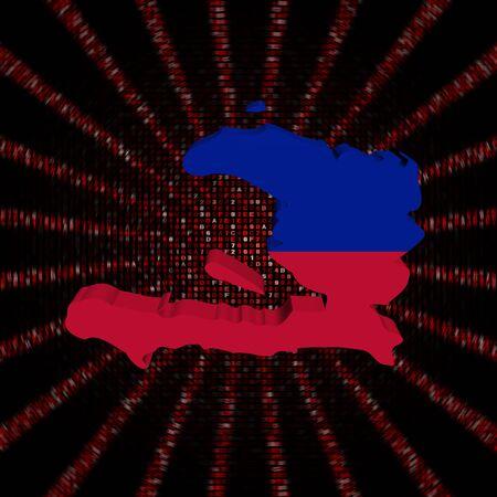 flag: Haiti map flag on red hex code burst illustration