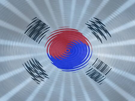 republic of korea: South Korean flag background with ripples and rays illustration