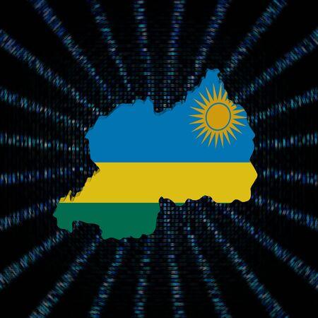 Rwanda map flag on blue hex code burst illustration
