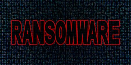 ransom: Ransomware text on hex code illustration