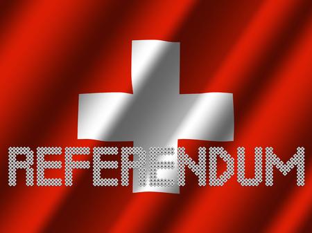Texte du référendum des votes sur l'illustration du drapeau suisse ondulé Banque d'images - 74367914