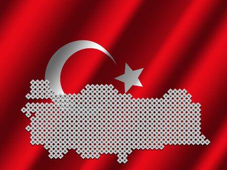 Turkey map of votes on rippled Turkish flag illustration