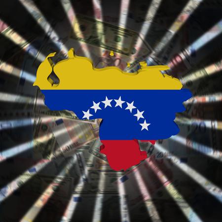 Venezuela map flag on currency burst illustration Stock Photo