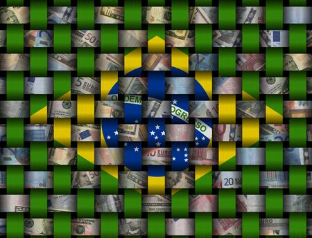 Interwoven Brazilian flag and currency illustration