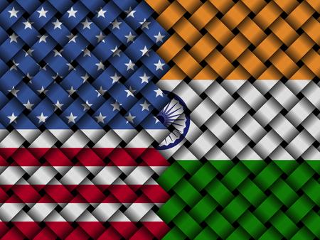 intertwine: USA Indian interwoven flags illustration Stock Photo