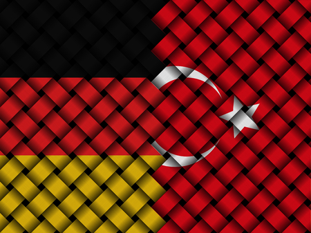 Turkey Germany interwoven flags illustration