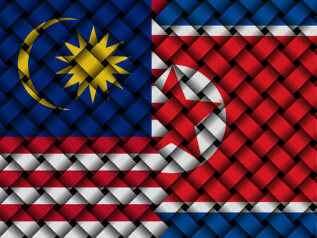 desconfianza: Malaysian North Korean interwoven flags illustration