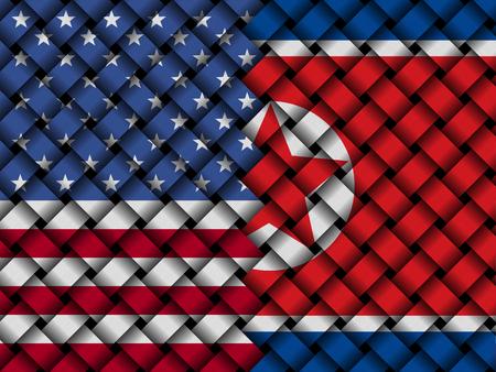 USA North Korean interwoven flags illustration