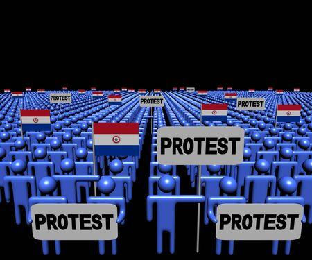 bandera de paraguay: Multitud de personas con signos de protesta y ilustración de banderas de Paraguay