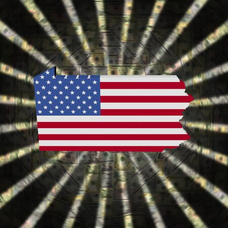 Pennsylvania map flag on currency burst illustration 版權商用圖片 - 75845436