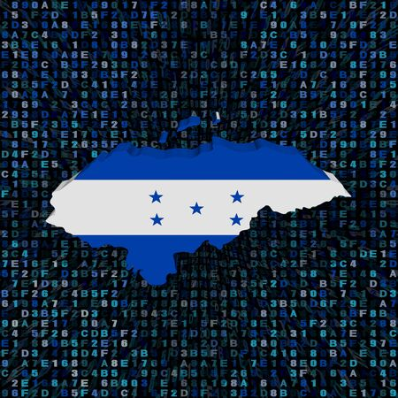 Honduras map flag on hex code illustration