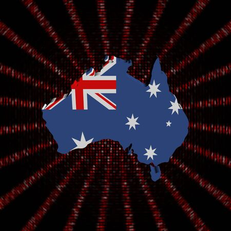 Australia map flag on red hex code burst illustration Stock Photo