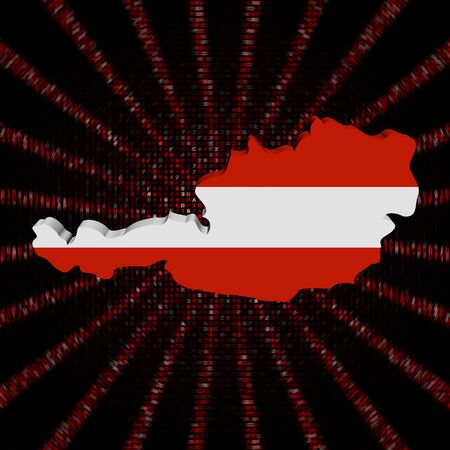 Austria map flag on red hex code burst illustration