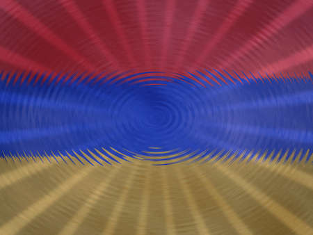Armenian flag background with ripples and rays illustration Stock Photo