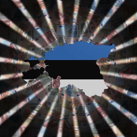 Estland Karte Flagge auf Währung Burst Illustration Standard-Bild - 76698225
