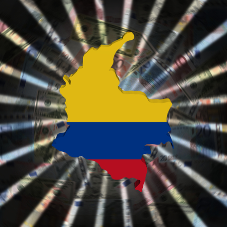 Colombia map flag on currency burst illustration