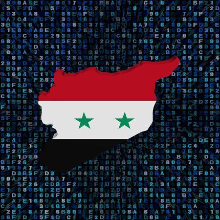 Syria map flag on hex code illustration Stock Photo