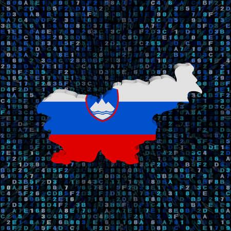 슬로베니아지도 16 진수 코드 그림에 플래그 스톡 콘텐츠