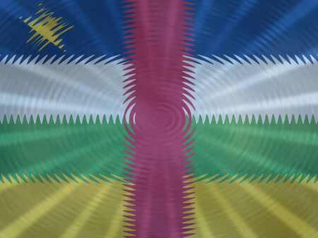 Central African Republic flag background with ripples and rays illustration