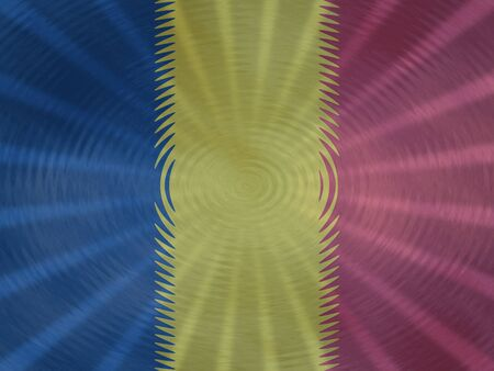 Chad flag background with ripples and rays illustration Stock Photo