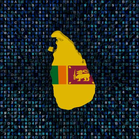 Sri Lanka map flag on hex code illustration Stock Photo