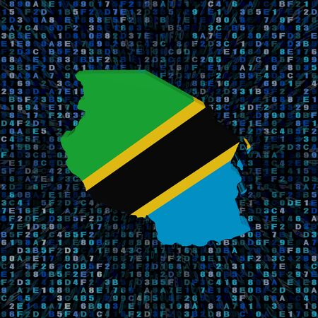 hex: Tanzania map flag on hex code illustration