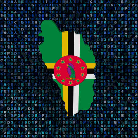 Dominica map flag on hex code illustration Stock Photo