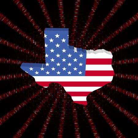 hex: Texas map flag on red hex code burst illustration Stock Photo