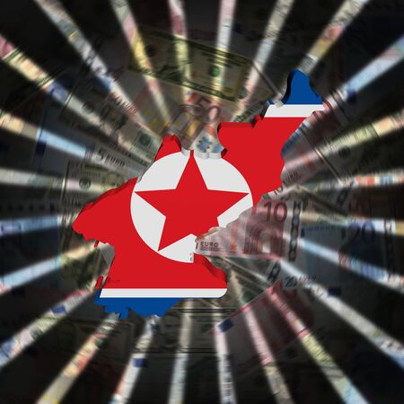 North Korea map flag on currency burst illustration Stock Photo