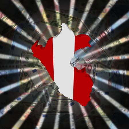 Bandera de mapa de Perú en ilustración de ráfaga de moneda